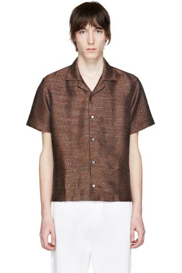 CMMN SWDN - Brown Leopard Jacquard Mervyn Shirt