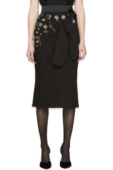 Dolce & Gabbana - Black Embroidered Buttons Skirt