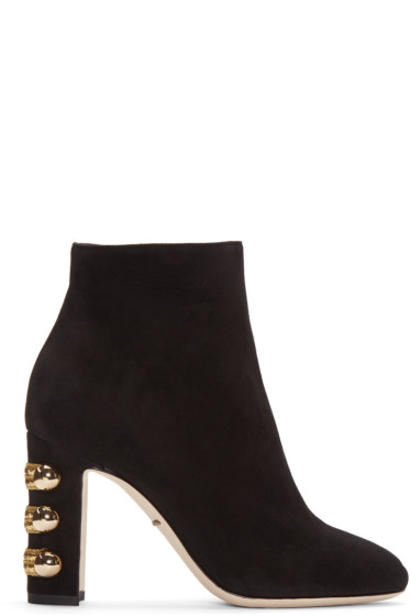 Dolce & Gabbana - Black Suede Military Boots