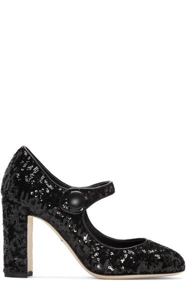 Dolce & Gabbana - Black Sequinned Mary Jane Heels