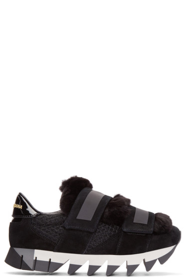 Dolce & Gabbana - Black Fur-Trimmed Sneakers