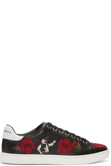 Dolce & Gabbana - Black Cowboy & Roses Sneakers