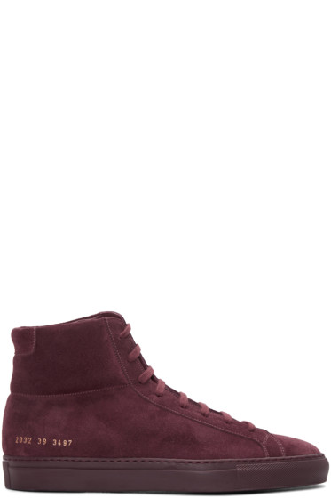 Common Projects - Burgundy Original Achilles High-Top Sneakers