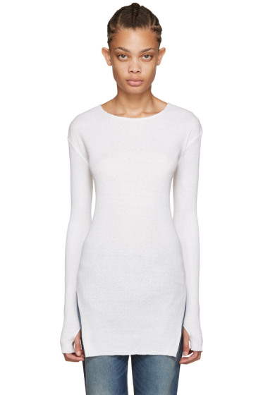 Helmut Lang - Off-White Ribbed Sweater