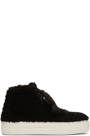 Helmut Lang - Black Shearling Stitched High-Top Sneakers