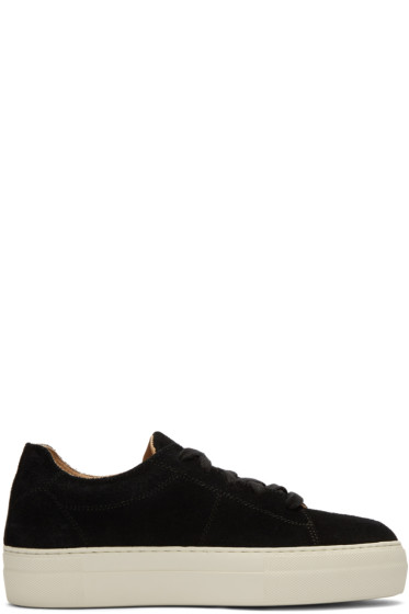 Helmut Lang - Black Suede Stitched Sneakers