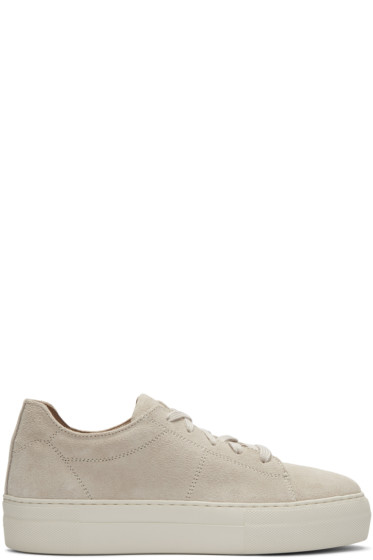 Helmut Lang - Beige Suede Stitched Sneakers