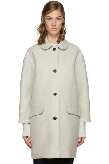 YMC - Off-White Neoprene Wool Coat