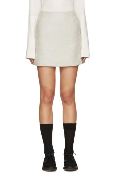 YMC - Grey Wool Neoprene Miniskirt