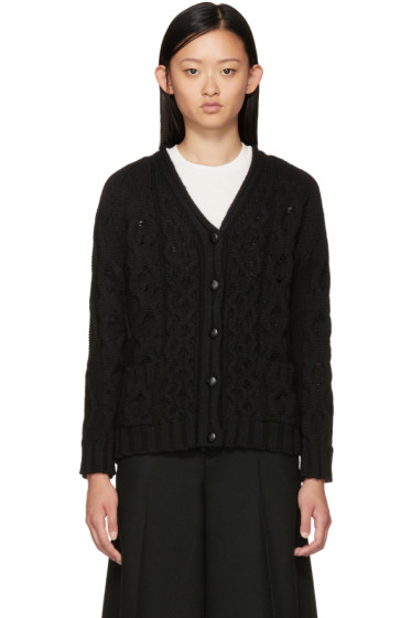 YMC - Black Wool Cable Cardigan