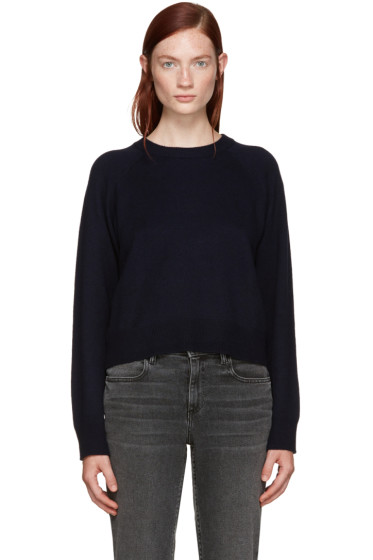 T by Alexander Wang - Navy Wool Cropped Sweater