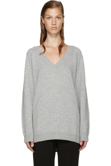 T by Alexander Wang - Grey V-Neck Sweater
