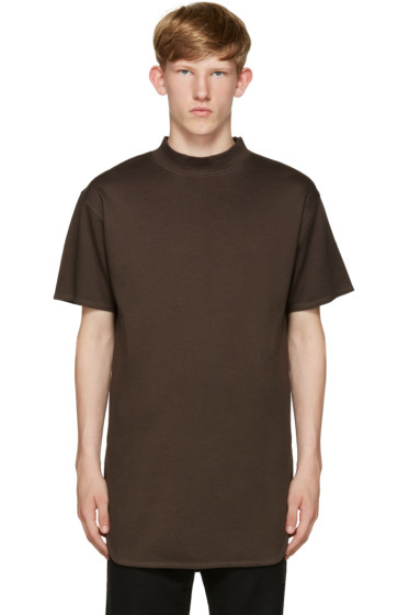 Robert Geller - Brown Mock Neck T-Shirt