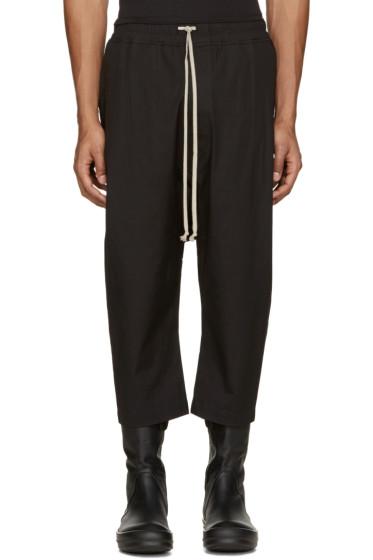 Rick Owens - Black Cropped Drawstring Lounge Pants