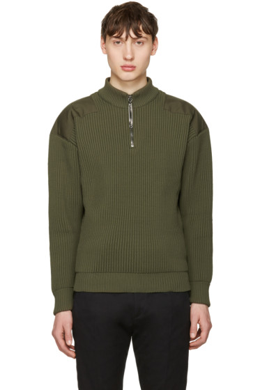 Jil Sander - Green Shoulder Patch Sweater
