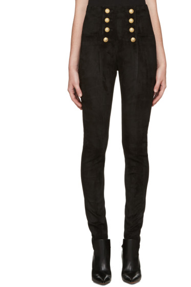 Balmain - Black High-Rise Suede Pants