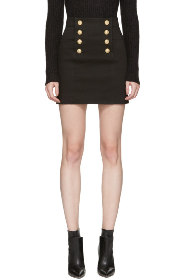 Balmain - Black Buttoned Miniskirt