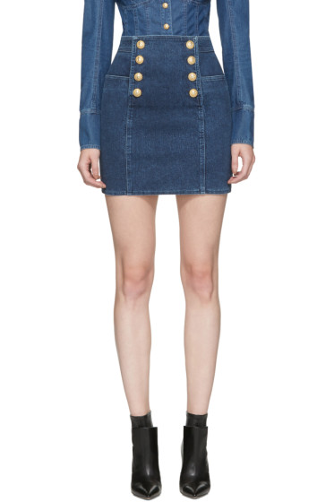 Balmain - Blue Denim Buttoned Miniskirt