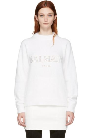 Balmain - White Angora Logo Sweater