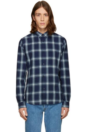 A.P.C. - Navy Twill Plaid Shirt
