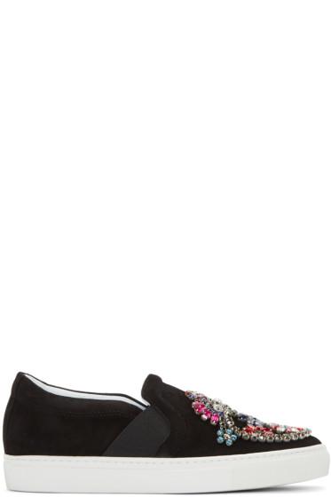 Lanvin - Black Embellished Slip-On Sneakers