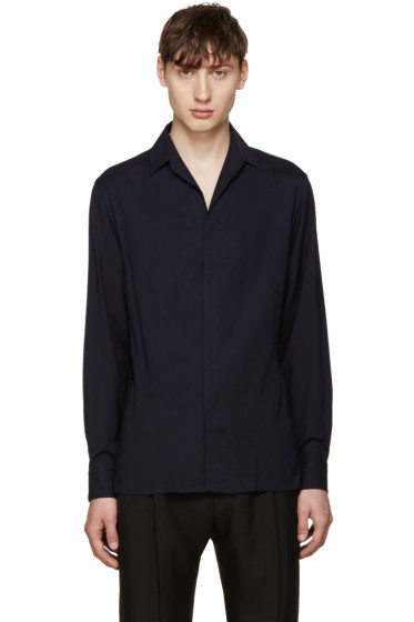 Lanvin - Navy Open Collar Shirt