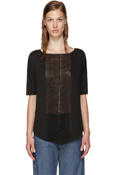 Raquel Allegra - Black Distressed Basic T-Shirt