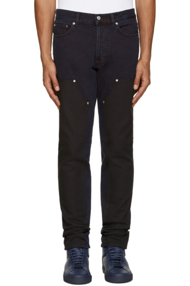 Givenchy - Blue & Black Panel Jeans