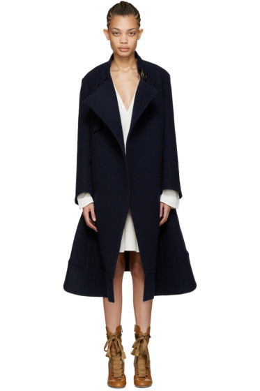 Chloé - Navy Oversized Wool Coat