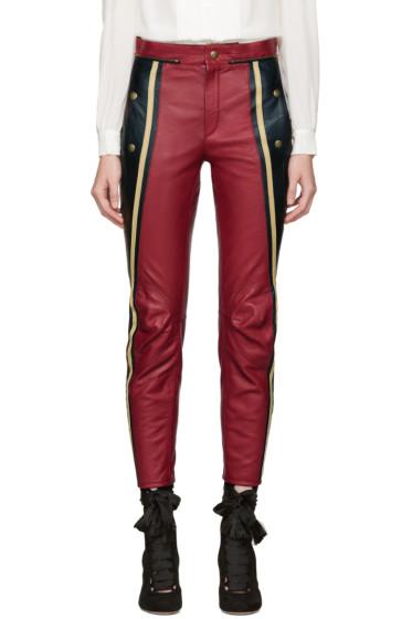 Chloé - Black & Red Leather Biker Pants