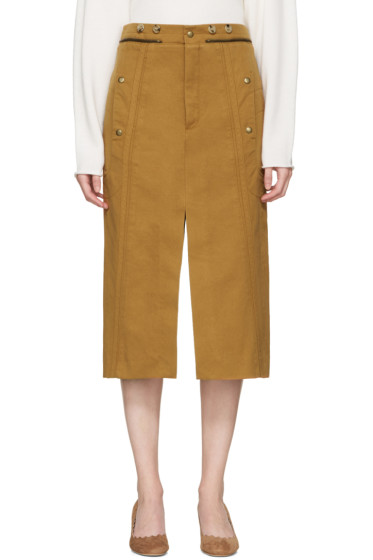 Chloé - Tan Utilitarian Slit Skirt