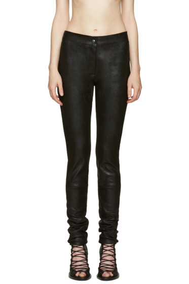 Ann Demeulemeester - Black Textured Leather Trousers