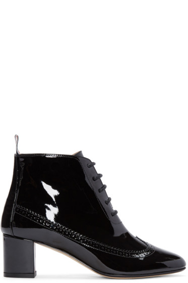 Thom Browne - Black Patent Leather Longwing Boots