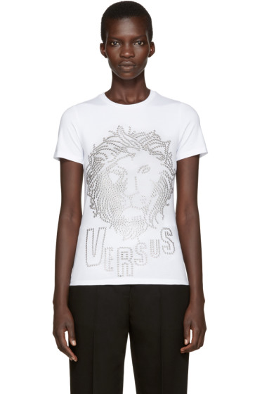 Versus - White Eyelet Lion T-Shirt