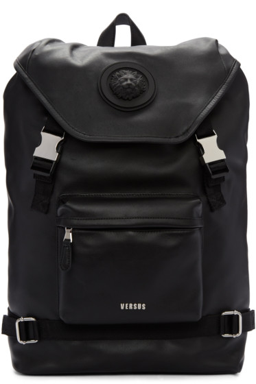 Versus - Black Leather Buckled Backpack