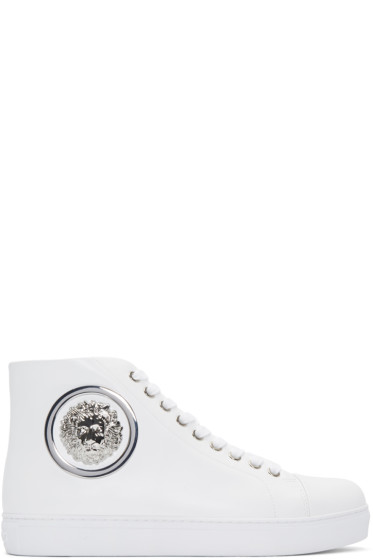 Versus - White Lion Medallion High-Top Sneakers