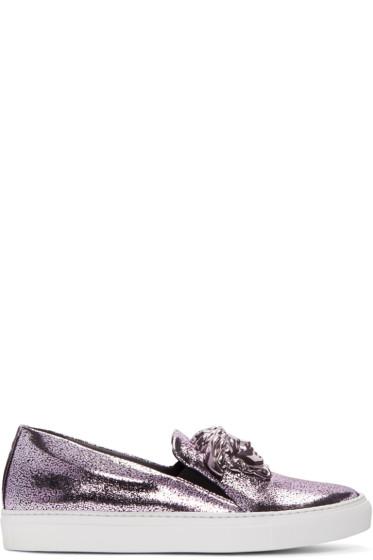 Versace - Pink Metallic Slip-On Sneakers