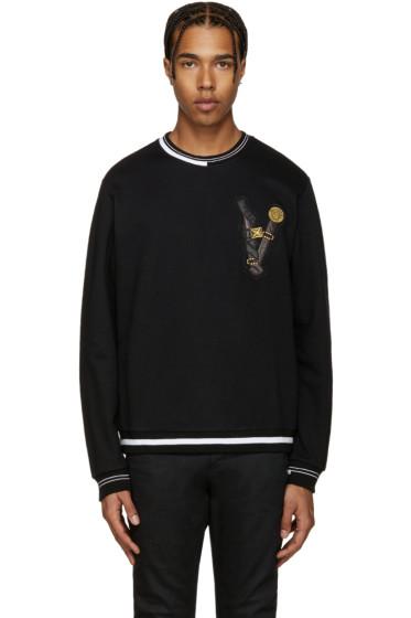 Versace - Black Embroidered Belt Pullover