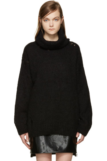Saint Laurent - Black Distressed Turtleneck