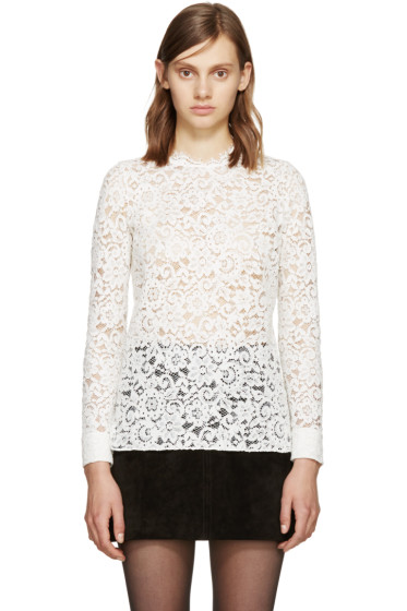 Saint Laurent - White Lace Blouse