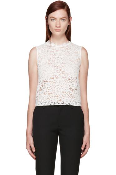 Saint Laurent - White Floral Lace Blouse