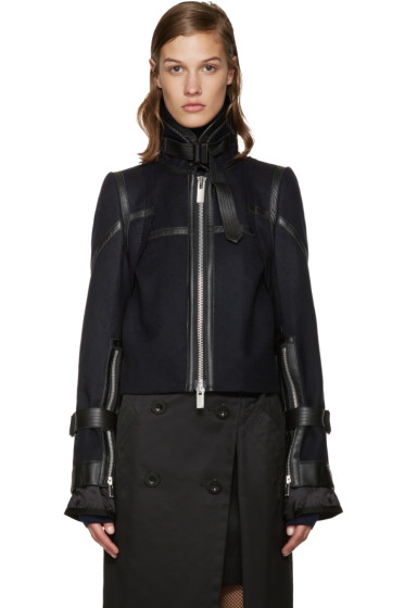 Sacai - Navy Wool Biker Jacket