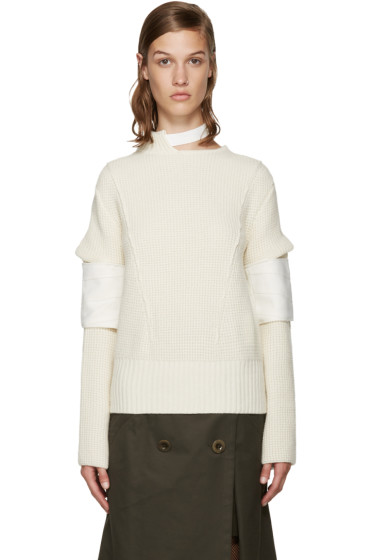 Sacai - Ivory Belted Collar Sweater