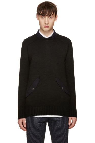 Sacai - Black Shawl Neck Sweater