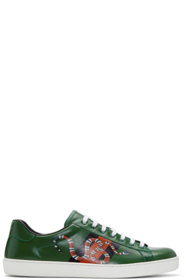 Gucci - Green Web Snake Ace Sneakers