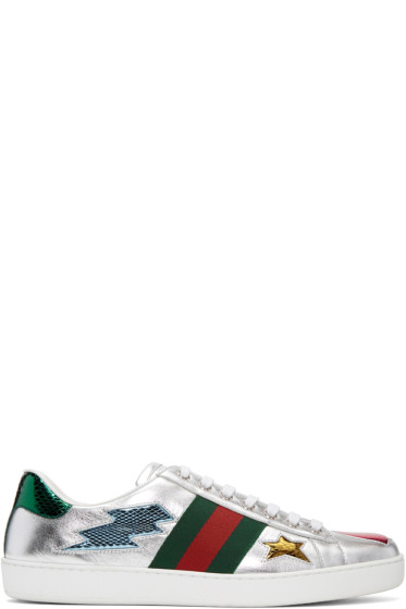 Gucci - Silver Stars & Lips Ace Sneakers