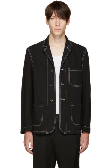 Umit Benan - Black Contrast Stitching Blazer