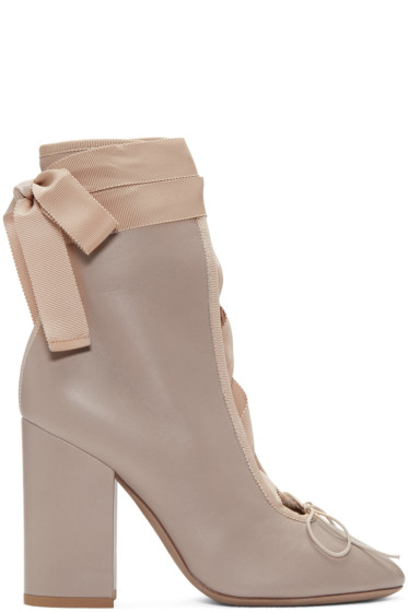 Valentino - Beige Lace-Up Ballerina Boots