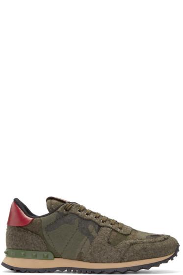 Valentino - Green Felt Camo Sneakers