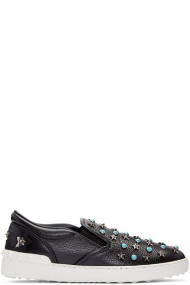 Valentino - Black Stone & Stars Slip-On Sneakers
